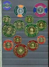 Bhutan, Burundi, Qatar, Tonga u.a. runde Prägebriefmarken gold 24 St. ** MNH