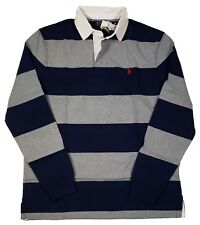 1388fd0229f Medium M Polo Ralph Lauren Mens Iconic Rugby Shirt Classic Fit Gray Navy