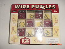 12 WIRE PUZZLES Brain Teaser mind game toy steel metal - SCHYLLING