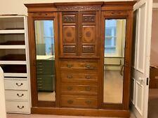 More details for antique wardrobe triple compactum victorian walnut armoire 19th century large