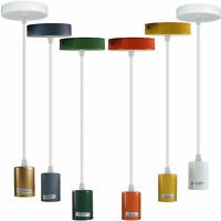 New Colour metal Ceiling Rope Cord Pendant Lamp Holder Light Bulb Socket E27