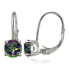 Sterling Silver Green Mystic Topaz 6mm Round Leverback Earrings