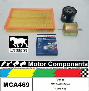 SPARK PLUGS & FILTER SERVICE KIT for PEUGEOT 307 T5 EW10J4 2L Petrol 11/01 > 05