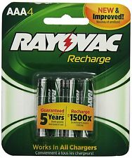 Rayovac Recharge Rechargeable 600 mAh NiMH AAA Pre-Charged Battery, 4-pack