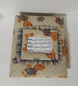 Baby Book Teddy Bear Photo Picture Album /Fabric covered /Vintage 3 ring binder