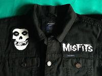 Misfits Fiend Club Horror Punk Black Denim Cut-Off Jacket Crimson Ghost S-4XL