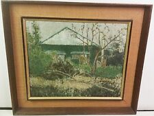 Vintage framed painting on canvas abandoned house country Asian artist signed