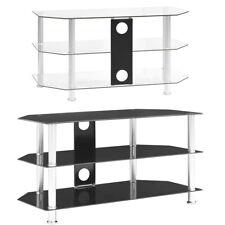 TV-Schrank Transparent Hartglas Fernsehtisch Lowboard 96x46x50 cm / 75x40 x 40cm