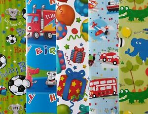10 SHEETS OF THICK GLOSSY ASSORTED BOYS CHILDREN'S BIRTHDAY WRAPPING PAPER