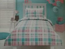 KIDS SINGLE COTTON  FLANNELETTE QUILT COVER. PASTEL TARTAN CHECK PRINT. NEW