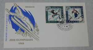 1960 1st day cover Olympic games Squaw Valley Ski Jumping Monaco stamps
