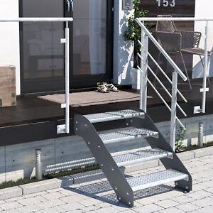 Altona II 4 Stufen - lackierte Metalltreppe Wangentreppe Stahl