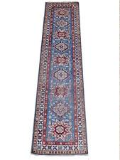 Blue 10 ft Kitchen Carpet Runner 2' 6'' x 9' 11'' Super Kazakh natural wool
