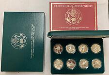 1995-96 ATLANTA OLYMPIC COMMEMORATIVE 8 COIN PROOF SILVER DOLLAR SET, GREEN BOX