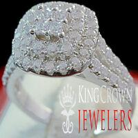 10K White Gold On Silver Engagement Bridal Band Wedding Ring Ladies Simu Diamond