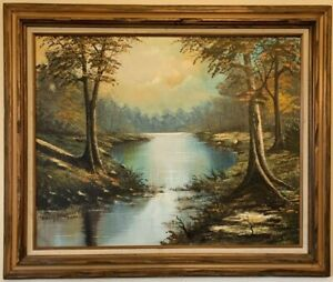 Landscape River Art Oil Painting On Canvas Signed by Artist