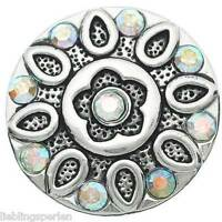 5 älter Silber Gravur Blumen Form mit Strass Klicks Druckknöpfe 20mm