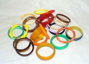 VTG Bangle Bracelet Lot 22 All Vintage from Estate. Nice Variety. Plastic Mod!