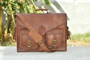 Men's Genuine Brown Leather Vintage Messenger Laptop Briefcase Bag Shoulder Bag
