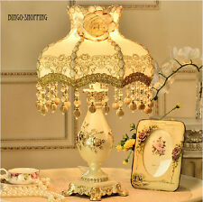 Luxury European  Gold Rose Flower Bedside Desk Table Lamp