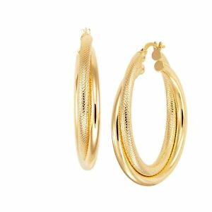 Italian-Made Twisted Intersecting Hoop Earrings in 18K Gold-Plated Bronze