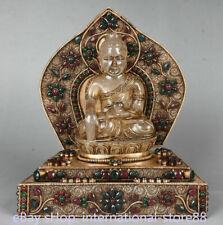 9.6 inch Old Tibetan Silver Filigree Crystal Coral Gem Shakyamuni Buddha Statue