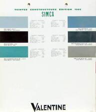 1975  SIMCA TEINTES DE PEINTURE VRAIS COLORIS VALENTINE