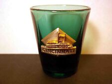 Cincinatti  souvenir shot glass pewter logo gold paddle steamer