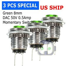 3pcs 8mm Starter Switch / Boat Horn Momentary Push Button Green Cap Steel Metal
