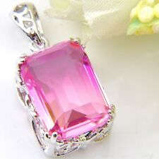 Pink Color Rectangle Bi-Color Tourmaline Gems Silver Pendant Necklace With Chain