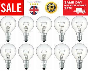 10x 40W Watt Clear Golf Globe Small Edison Screw Cap SES E14 Lamp Light Bulbs UK