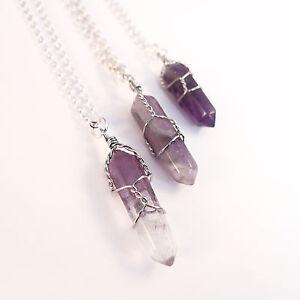 Tibetan Amethyst Crystal Bullet Stone Necklace-Vintage Silver-Quartz Jewellery