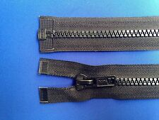 """ZIP OPEN ENDED BLACK 49CM 19/"""" 8 WEIGHT METAL SLIDER AND TEETH HEAVY CHUNKY DUTY"""