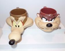 Looney Tunes Wile E Coyote Taz Tasmanian Devil Mugs Cup Set 3D 1992 Warner Bros