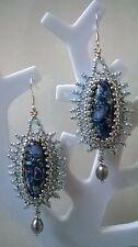 Ohrringe 925 Silber-Edelsteine Türkis,Süßwasserperlen,Miyuki-Blau