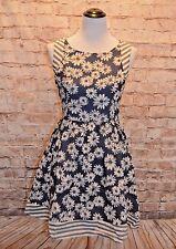 Modcloth I'm Seeing a Flatter Dress NWT S Blue Ivory Daisy A-line Floral Stripe