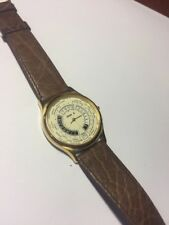 Rare ACER Watch World Time Date Unique Dial All SS Brown Band Made In France