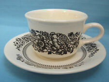 Royal China Jeannette Sussex Tea Cup & Saucer Brown White Floral Mug