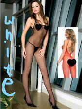 White Seamless Fishnet Bodystocking V Back Open Crotch Plus Size 1291Q