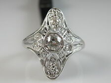 Antique Old European Cut Diamond Ring Platinum Art Deco Vintage Estate Size 5.5