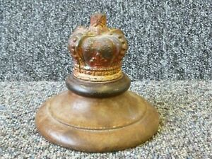 Antique Royal Queen Victoria's Crown Paperweight Cast Iron Mahogany Wood Base