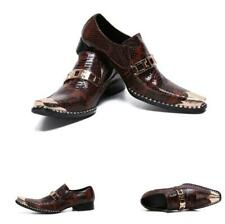 Mens Real Leather Business Shoes Metal Pointy Toe Oxfords Slip on Snakeskin 46 L