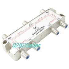 6 Way RF Splitter TV & Satellite Video 2GHz Antenna Coax 54MHz-2150MHz RG6 RG59