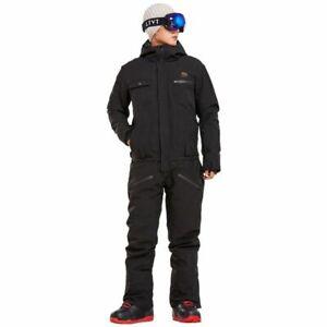 Black Ski Jumpsuit for Men Women Winter Windproof Waterproof Warm Skiing Suit