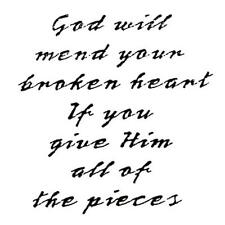 God Will Mend Broken Heart unmounted rubber stamp, encouragement, Christian H&S