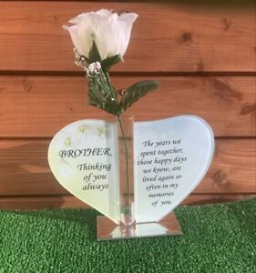 Beautiful Glass Heart with Silk Flower Vase ' BROTHER ' Memorial Grave Ornament