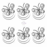 Bridal Wedding Silver Crystal Butterfly Hair Coils Spirals Twists Pins HP13