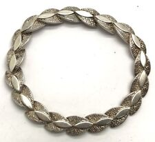 Vintage Oxidized Sterling Silver Hammered Marquise Arrow Chain Tennis Bracelet
