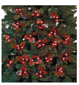 120 Holly & Berry Red LED Christmas Tree String Fairy Lights 5.8m - Battery oper