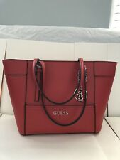 NWT GUESS Delaney Small Classic Tote Bag Handbag Purse Saffiano Red New